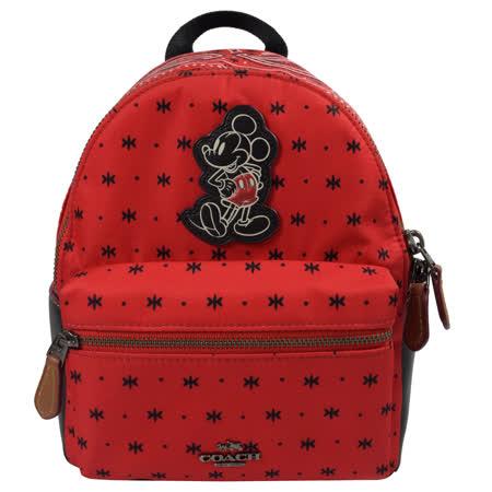 COACH  限量米奇米字變形蟲圖案迷你後背包.紅