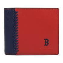 COACH 限量棒球圖案皮革編織附活動夾中短夾.紅/深藍