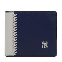 COACH 限量棒球圖案皮革編織附活動夾中短夾.深藍/白