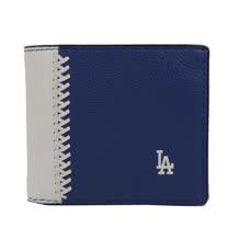 COACH限量棒球圖案皮革編織附活動夾中短夾.藍/白