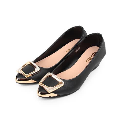 (女) RIN RIN 方釦尖頭楔形鞋 黑 女鞋 鞋全家福