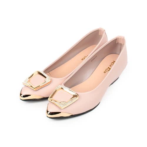 (女) RIN RIN 方釦尖頭楔形鞋 粉 女鞋 鞋全家福