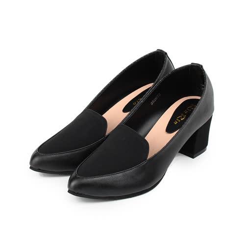 (女) RIN RIN 仿皮尖頭方跟淑女鞋 黑 女鞋 鞋全家福