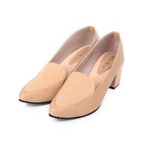 (女) RIN RIN仿皮尖頭方跟淑女鞋 杏 女鞋 鞋全家福