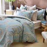 義大利La Belle 雙人純棉防蹣抗菌吸濕排汗兩用被床包組-奧黛莉