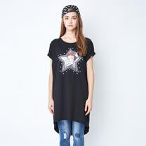 【Betty Boop貝蒂】星星彩圖側割破彈性長版上衣(共兩色)