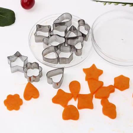 【PS Mall】不鏽鋼餅乾模具 心型 花型 蔬菜水果切花模具 12件組 烘焙模具 (J668)