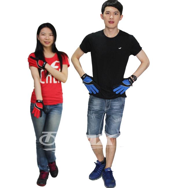 omax全 防曬透氣全指手套~男藍色 女紅色 2雙
