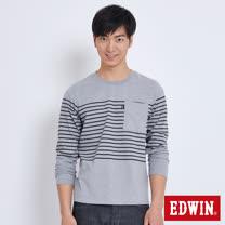 EDWIN 中段條口袋T恤-男-麻灰