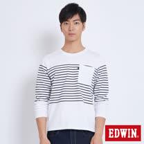 EDWIN 中段條口袋T恤-男-白色