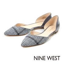 NINE WEST--奧賽尖頭平底鞋--格紋灰