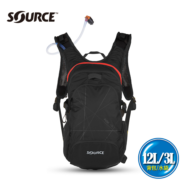 SOURCE 戶外健行水袋背包Fuse2051922202  12L水袋3L黑紅  城市綠洲  戶外、登山、補水、抗菌