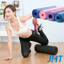 JHT 極震瑜珈滾輪+NBR無毒環保瑜珈墊(10mm加厚款)