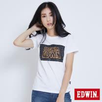 EDWIN 太空競賽銀河夜光短袖T恤-女-白色