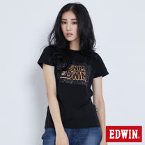 EDWIN 太空競賽銀河夜光短袖T恤-女-黑色