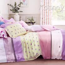 《KOSNEY 花宇小調》雙人100%天絲TENCEL六件式兩用被床罩組