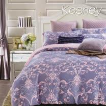 《KOSNEY 淡淡的愛戀-藍》雙人100%天絲TENCEL六件式兩用被床罩組