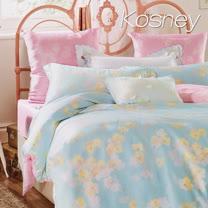 《KOSNEY 暖玉生香-粉綠》雙人100%天絲TENCEL六件式兩用被床罩組