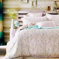 《KOSNEY 簡愛花開-灰》雙人100%天絲TENCEL六件式兩用被床罩組