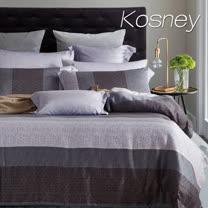 《KOSNEY 麻趣布洛-灰》雙人100%天絲TENCEL六件式兩用被床罩組