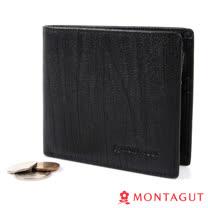 MONTAGUT夢特嬌-樹皮紋頭層牛皮真皮 短夾-12卡1照2夾1零