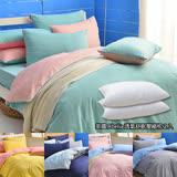 英國Abelia《漾彩混搭》雙人四件式天使絨被套床包組-任選(+透氣舒壓枕2入)