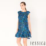JESSICA - 派對宣言玫瑰提花洋裝(藍)