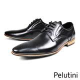 【Pelutini】時尚尖頭牛皮德比紳士鞋  黑色(8355-BL)