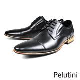 【Pelutini】時尚橫飾牛皮紳士德比鞋  黑色(8357-BL)