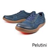 【Pelutini】真皮透氣綁帶膠底休閒鞋  藍色(8364-DBU)