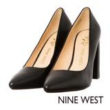 NINE WEST--素面尖頭粗跟高跟鞋--經典黑