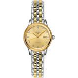 LONGINES浪琴 Flagship 系列真鑽機械女錶-金x雙色/30mm L43743377