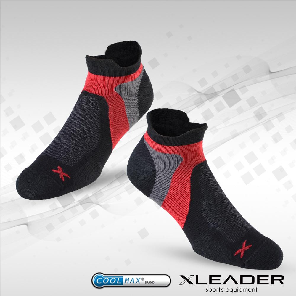 LEADER ST~02 X型繃帶 加厚耐磨避震短襪 機能除臭 襪 男款 黑紅