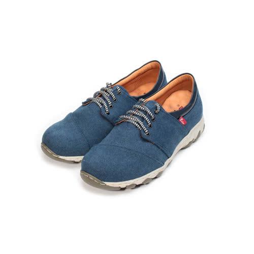 (男) ZOBR 牛仔布面綁帶休閒鞋 牛仔藍 男鞋 鞋全家福
