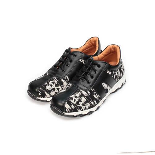 (男) ZOBR 飛織布面休閒鞋 黑白民族 男鞋 鞋全家福