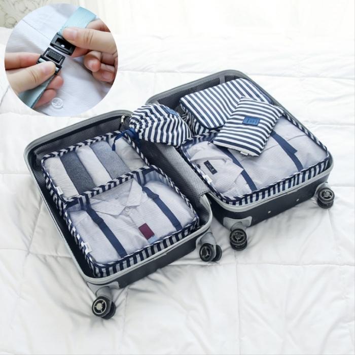 ~Bunny~新升級印花旅行行李箱防水衣物收納袋六件組 五色