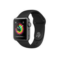 Apple Watch Series 3 GPS,38 公釐太空灰色鋁金屬錶殼搭配黑色運動型錶帶 _ 【贈專用螢幕保貼+保護套】