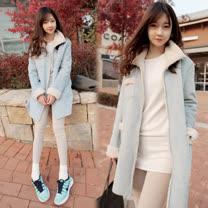 【韓國KW】L限量韓版POLO領直筒加厚保暖素面外套