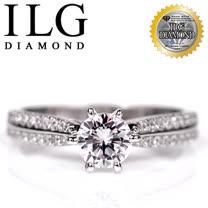 【頂級美國ILG鑽飾】八心八箭戒指 - 主鑽約75分 魅力北歐款 RI103 細緻排鑽設計 經典婚戒求婚戒(白K金色)