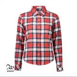 WINCEYS韓版純棉保暖格子襯衫-紅白黑格CB08