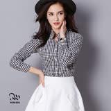 WINCEYS韓版純棉保暖格子襯衫-黑白格CB011