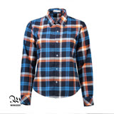 WINCEYS韓版純棉保暖格子襯衫-藍橘格CB012