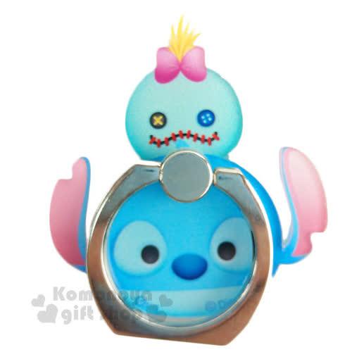 〔小禮堂〕迪士尼 Tsum Tsum 壓克力手機指環架~史迪奇.堆疊~可360度旋轉