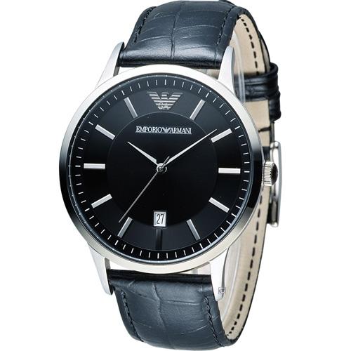 ARMANI 亞曼尼   Classic 簡約內斂時尚腕錶 AR2411 黑