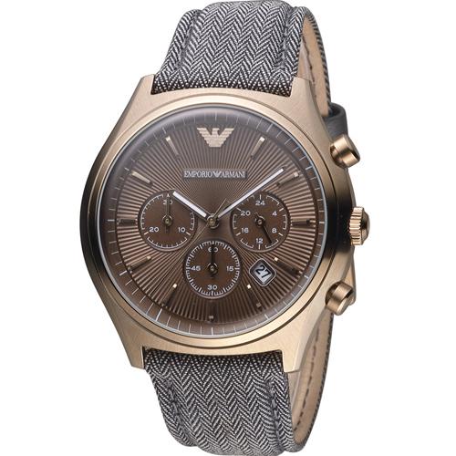 ARMANI 亞曼尼  計時時尚腕錶 AR1976 玫瑰金色