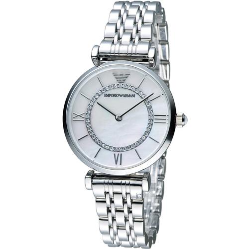 ARMANI 亞曼尼  晶鑽優雅時尚腕錶 AR1908 白