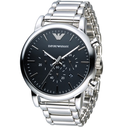 ARMANI 亞曼尼 Classic 英倫簡約風計時腕錶 AR1894 黑
