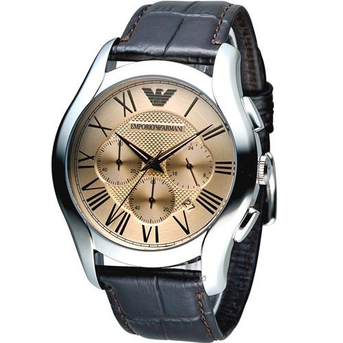 ARMANI 亞曼尼 Classic 羅馬假期計時腕錶 AR1785 咖啡色