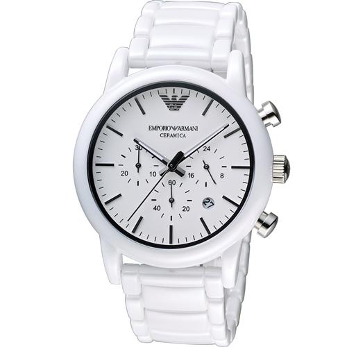 ARMANI 亞曼尼 Classic 經典白陶時尚腕錶  AR1499 白