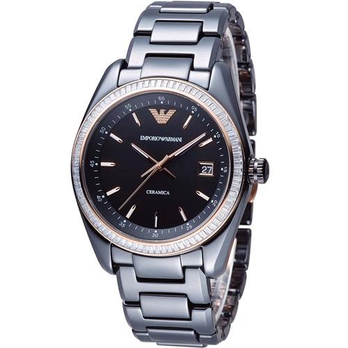 ARMANI 亞曼尼 Ceramica 璀璨晶鑽陶瓷腕錶 AR1496 黑